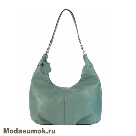 5aa4920a6b85 Женская мягкая сумка из натуральной кожи L-Craft L 78 тёмная мята ...